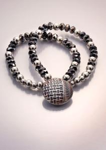 Fine Silver Clay Lentil pendant, texture plates